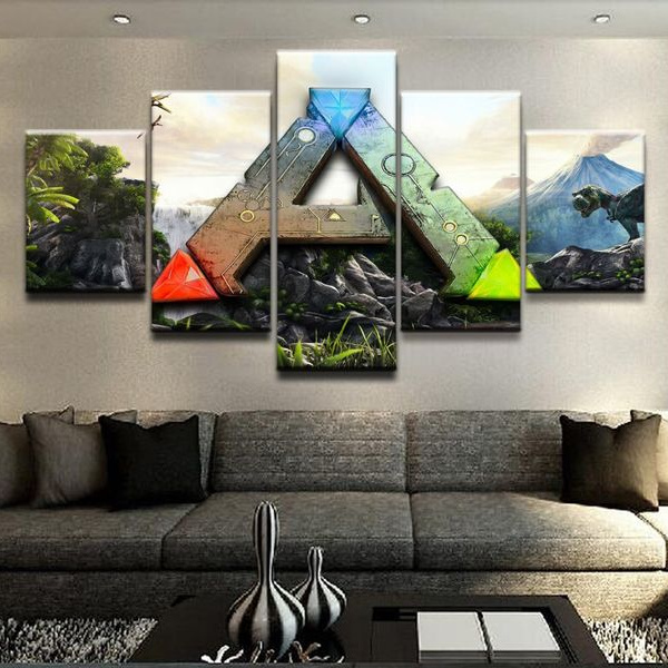 5panels Unframed Hd A Ark Survival Evolved Logo Poster Canvas Modern Oil Art Painting Wall Decal Wish