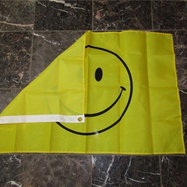 Happy Face 3x5 Flag Polyester Yellow