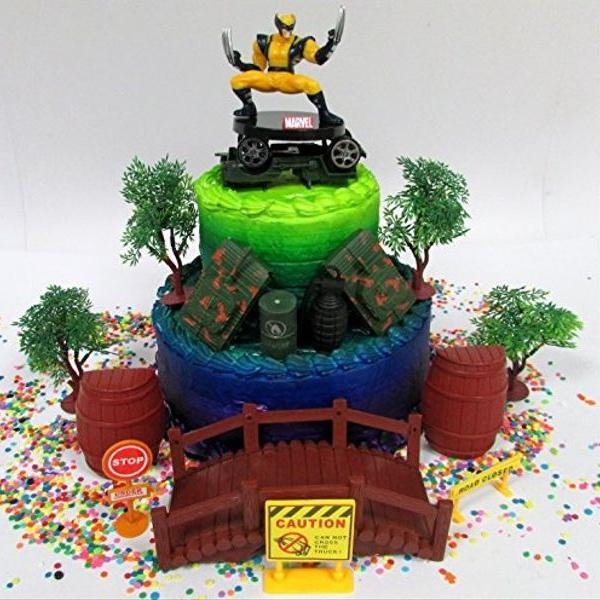 Cool Marvel Super Hero Wolverine Birthday Cake Topper Set Featuring Personalised Birthday Cards Veneteletsinfo