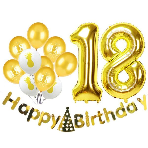 Swell 13Pcs Happy 18Th Birthday Latex Balloons 18 Years Old Gold Globos Funny Birthday Cards Online Fluifree Goldxyz