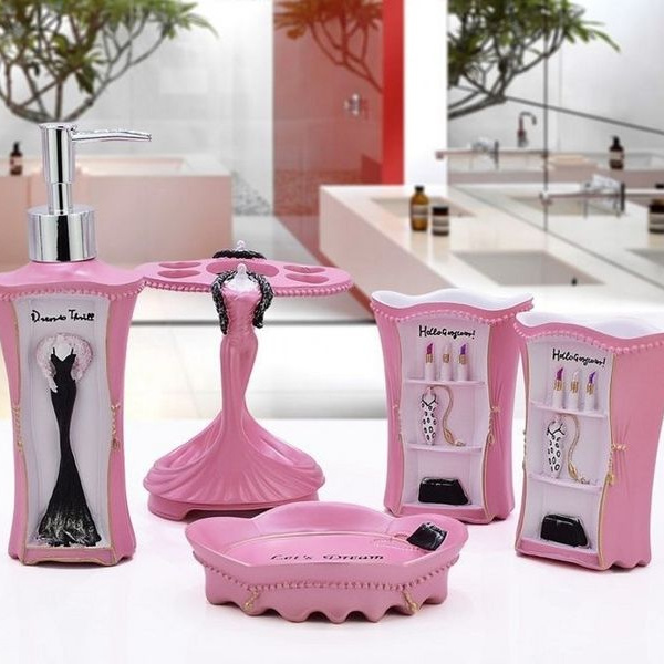 Pink Bathroom Accessories Sets Lotion