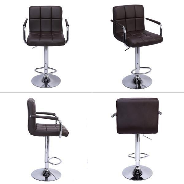 2pcs 60-80cm 6 Checks Cushion No Armrest Bar Stool Coffee Rotatable Design Brown
