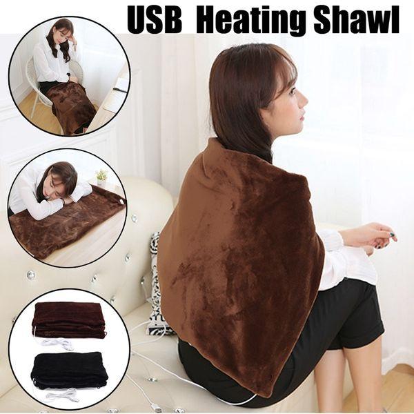 Soft USB Heated Shawl Electric Warming Neck Shoulder Heating Blanket Pad Winter