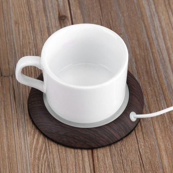 Wood Grain USB Heat Heater Milk Tea Coffee Mug Warmer Home Office Cup Mat Pad