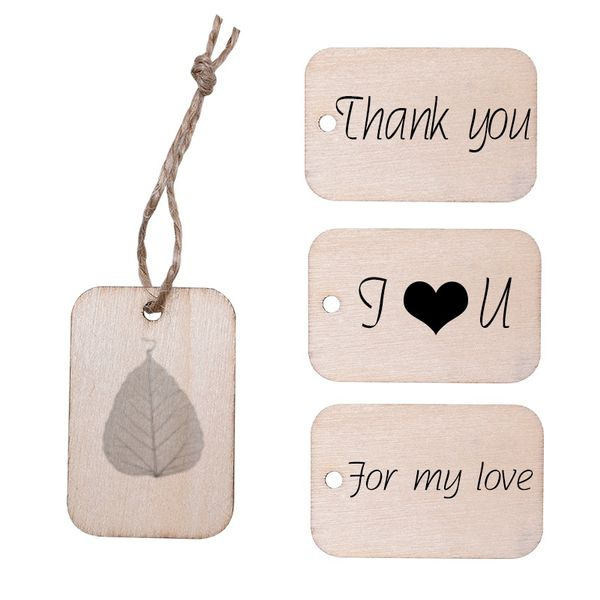 100pcs Unfinished Wooden Tags Gift Hanging Label for Wedding Decoration