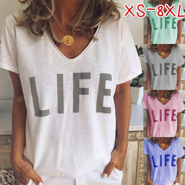 Womens Casual Letter Printed Tshirt V Neck Short Sleeve Tops