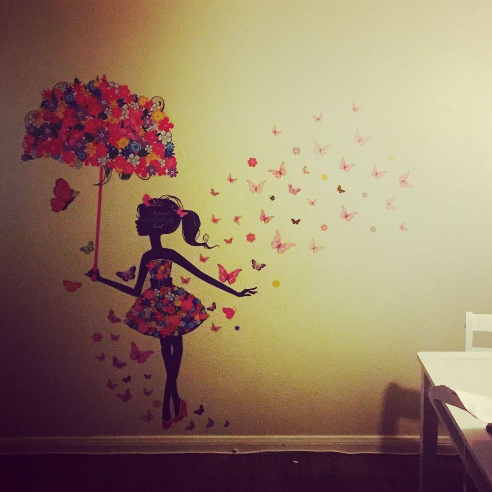 Wish | Butterfly Girl Removable Wall Art Sticker Vinyl Decal DIY ...