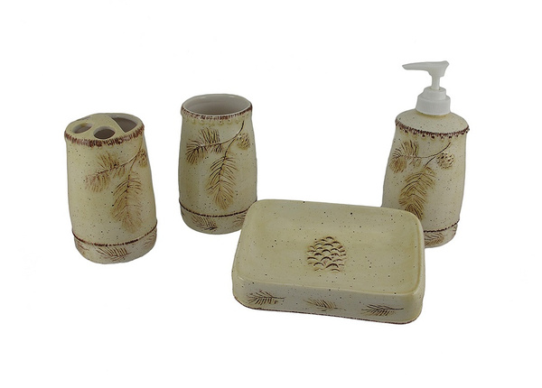 Wish   4 Piece Beige And Brown Ceramic Pine Cone Bathroom Set