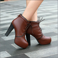 Luxurious Real Leather Rhinestone Shoelace Boots Brown