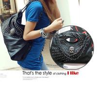 Fashion Women Cool Punk Style Skull handbag Black Shoulder Bag multiuse bag # L09187