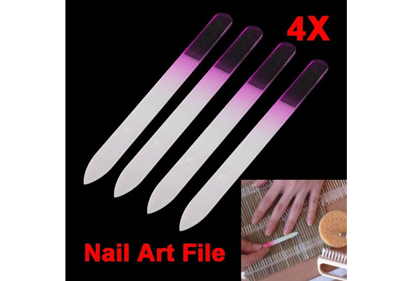 4pcs Manicure Nail Art Device Tool Crystal Glass Nail File
