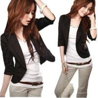 New arrival Women's solid half sleeve jacket lady slim casual short outwear women korea design garments