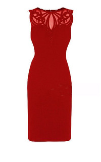 New Arrival Sexy Party Dress Net Yarn Embroidery Sleeveless Bandage Red Cocktail Formal Dress Wholesale KM1550