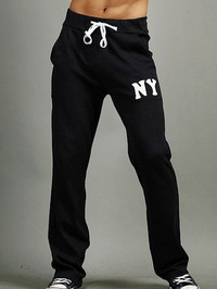 Fashion Men Drawstring Letter Printing Pants With Pockets