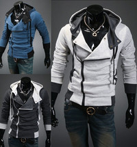 Hooded Cotton Plain Long Sleeve Zipper Mens Jackets