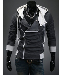 Dark Gray Hooded Cotton Plain Long Sleeve Zipper Mens Jackets