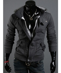 Dark Grey Solid Color Men Fashion With Hat Thick Zipper Jacket M/L/XL/XXL 1788-W04-32dg