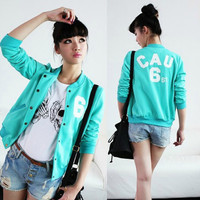 2013 casual women's stand collar candy color long-sleeve baseball uniform short jacket sweatshirt fleece cardigan