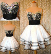 New A Line Sweetheart knee Length White and Black Sexy Prom Dress WD0196