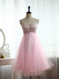 New Elegant Pink A-line Sweetheart Mini Prom Dress WD0199