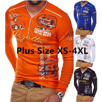 Mens Long Sleeves T-Shirts Letter Printed Tops