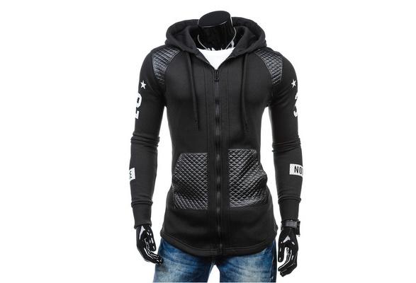 Gray/Black Men  Long Sleeve Zipper With Hat Fashion Casual Hoodies
