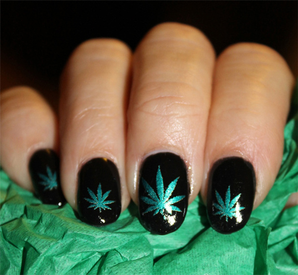 Wish | Green Metallic POT LEAVES Nail art (PTM) Symbols Pot Leaf ...