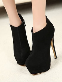 Black Fashion Women Casual Round Head High Heeled Short Boots Shoes 5/5.5/6.5/7.5/8.5 ALSMZY-MZ2055-65b