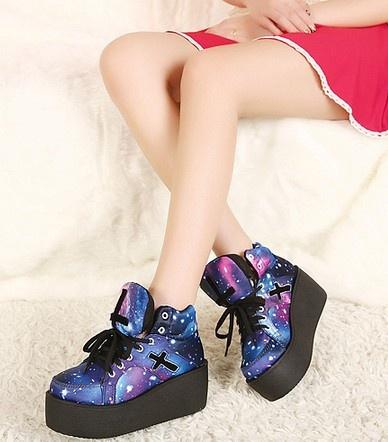 Wish | Harajuku Crosses Galaxy Blue Platform Shoes Creepers