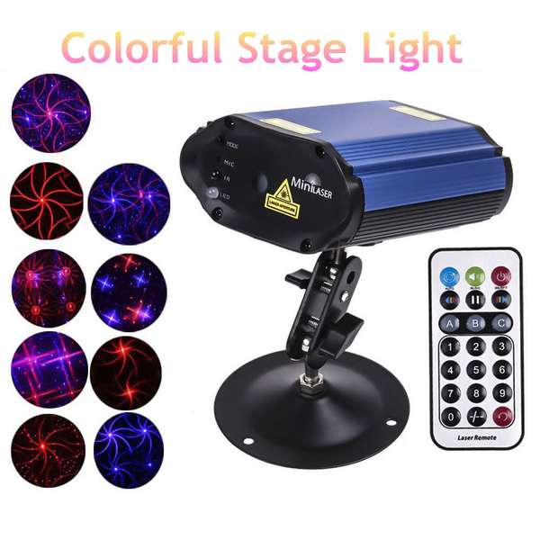 Picture of 180mw Mini Red Blue Light Moving Party Stage Laser Light Projector With Holder Remote Control Laser Dj Disco Party Light H8103 Color Red Blue