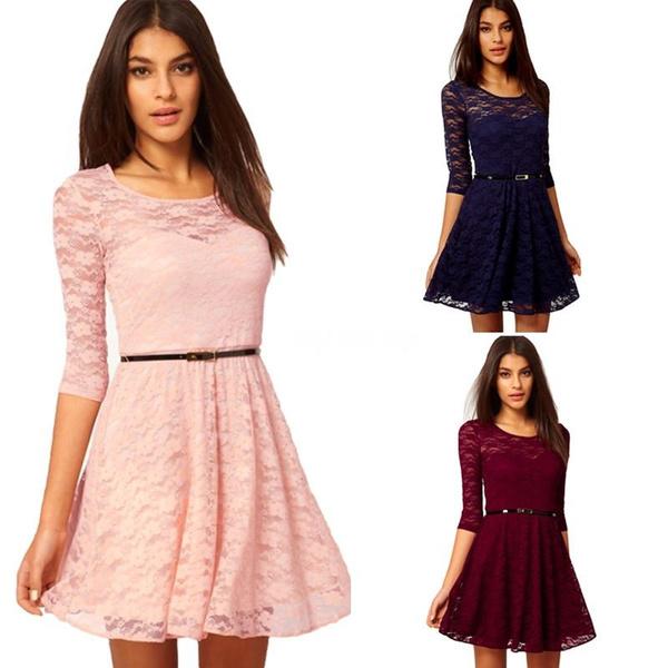 New Fashion Women Lady Sexy O Neck 34 Half Sleeve Lace Skater Dress Mini Dress Vestidos Belt Is Not Included
