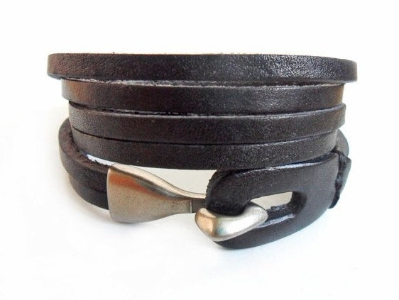 Wish Jewelry Cuff Bracelet Leather Men Women Wrist Black And Alloy Clasp