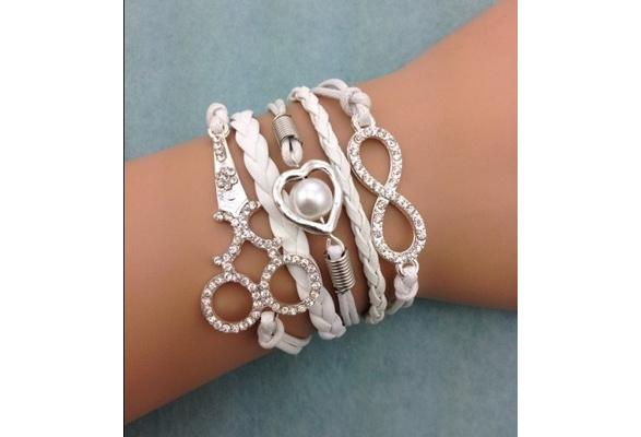 infinity bracelet, heart shaped pearls bracelet,wedding bracelet scissors bracelet,leather