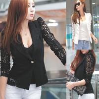 Hot Sale Womens Long Sleeved Lace Hollow Black Sexy Small Suit Coat
