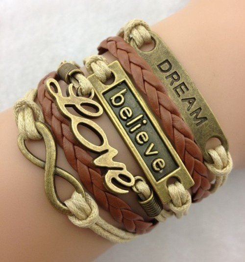 Picture of Mixed Color Infinity Antique Charm Leather Believe Dream Love Bracelet