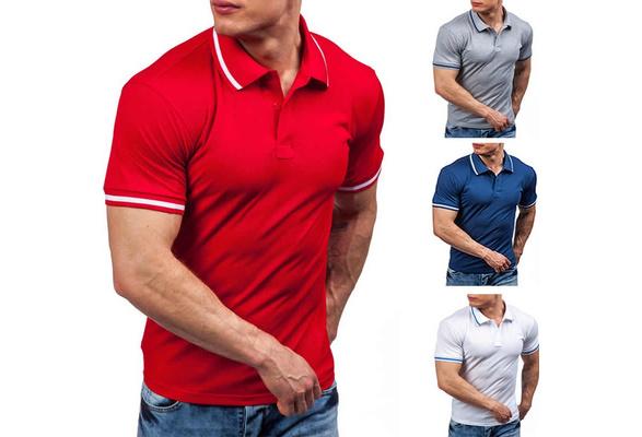Men Korean Style Navy Cotton Short Sleeves Polo Shirt (M/L/XL/XXL)