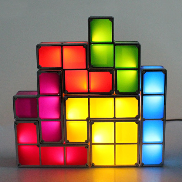 Picture of Novelty Tetris Diy Constructible Retro Game Style Stackable Led Light Desk Lamp