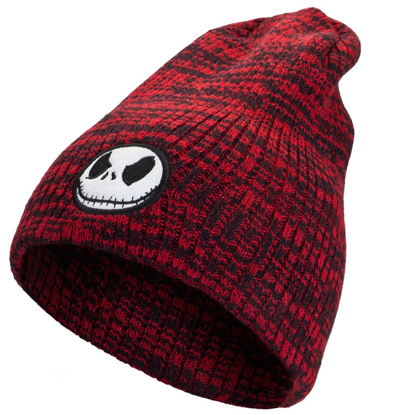 wish nightmare before christmas jack head marled slouchy beanie red