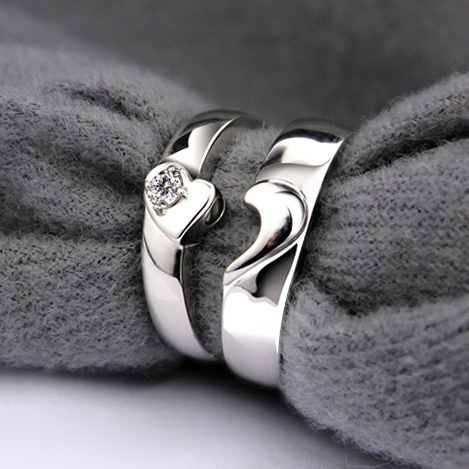 4633e7b0d2 Wish   Magnetic Half Heart Shaped Wedding Rings with Custom Engraving