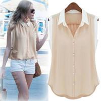 Summer New Fashion Women's Blouse Pink/Mint/Ivory Turn-down Collar Sleeveless chiffon Base Shirt 8688