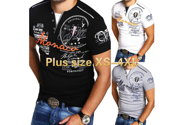 Plus Size Men's Short Sleeves T-Shirts Letter Printed Tops