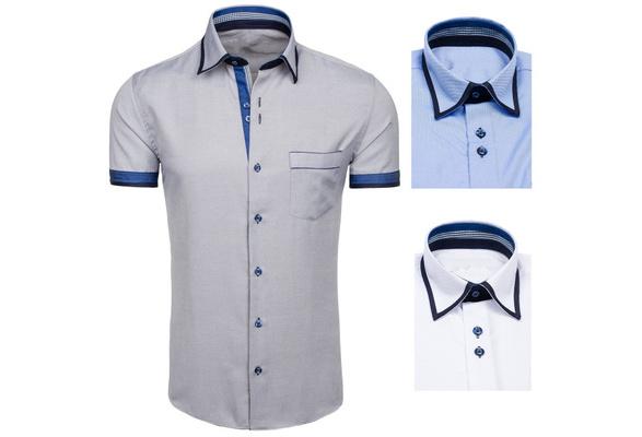 Korean fashion shirt men's short sleeve cotton shirt