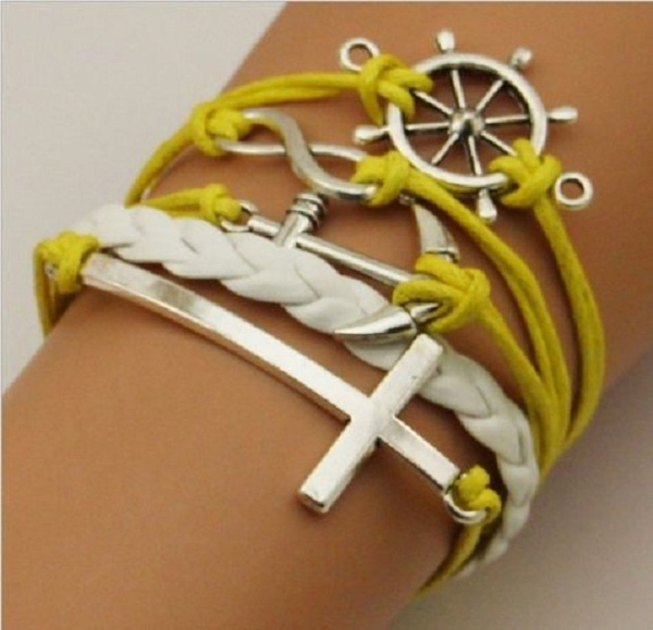 Wish Yellow White Braid Infinity Symbol Anchor Ships Wheel