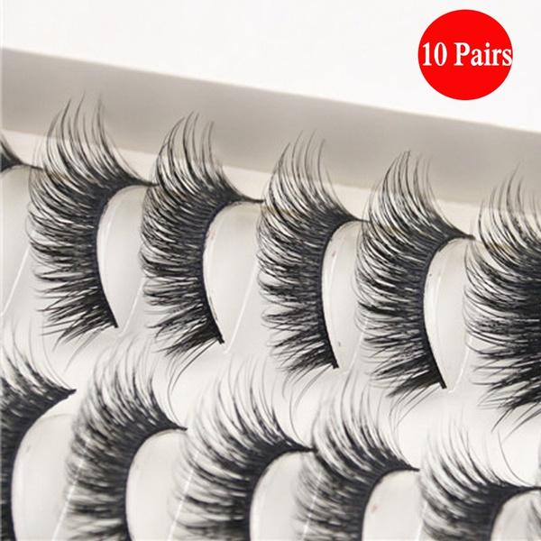 Picture of 10 Styles New Fashion 10 Pairs Long Thick False Eyelashes Charming Eye Lashes Makeupblack