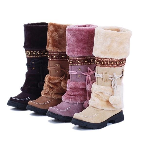 Women Snow Boots Knee High Flat Winter Warm Shoes