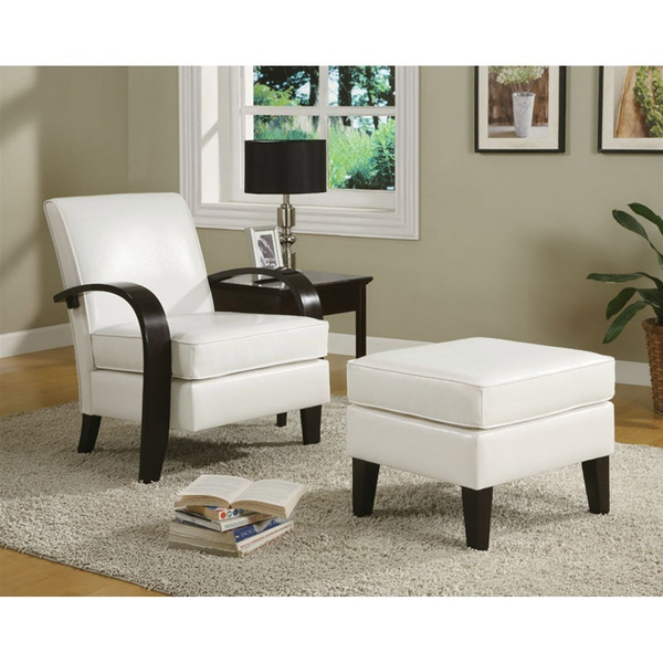 Swell Bowed Arm Club Chair Accent Chair Ottoman In White Bonded Leather Pdpeps Interior Chair Design Pdpepsorg