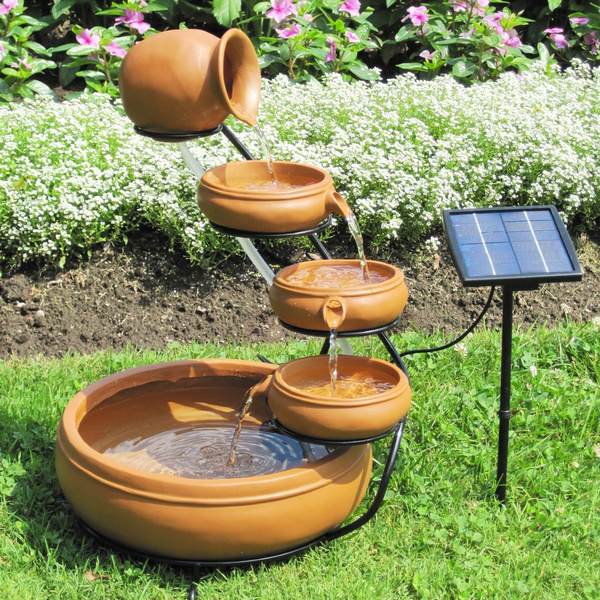 Cascading Water Fountains Outdoor.Outdoor Solar Water Fountain With Cascading Terracotta Pots