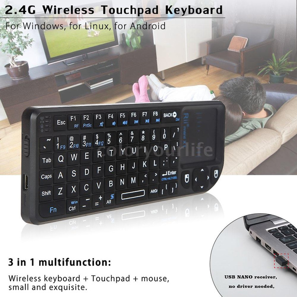 Picture of Rii Mini X1 Handheld 2.4g Wireless Keyboard Touchpad Mouse For Pc Notebook Smart Tv Black C1783 Color Black