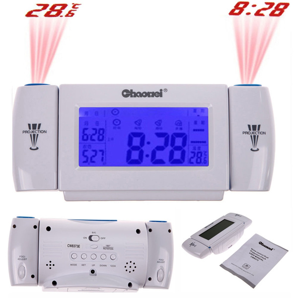 Picture of Digital Lcd Snooze Dual Projection Alarm Clock Clapping Voice Controlled Color Blue