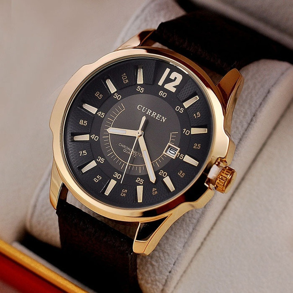 Picture of Dial Clock Hours Hand Date Brown Leather Strap Mens Wrist Watches 3atm Waterproof